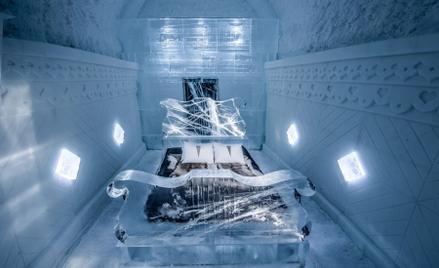 """Pokój """"Preludium deszczowe"""" w Icehotelu zaprojektowane przez Tomasza Czajkowskiego. Fot: Tomasz Czaj"""
