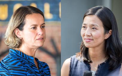 Annissa Essaibi George (z lewej) i Michelle Wu (z prawej) mają doświadczenie pracy w radzie miasta.