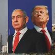 Plakat przedstawiający byłego premiera, Beniamina Netanjahu i Donalda Trumpa
