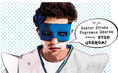 Superbohater Doktor Stroke Pogromca Udarów odwiedza szkoły i uczy młodzież, jak rozpoznawać objawy u