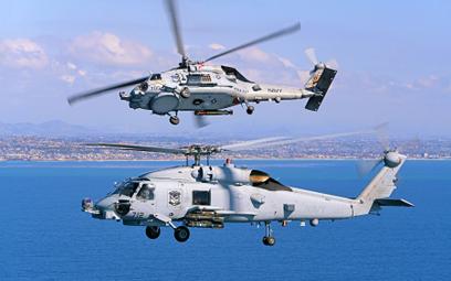 Dwie maszyny MH-60 Romeo w locie. Fot./Lockheed Martin.