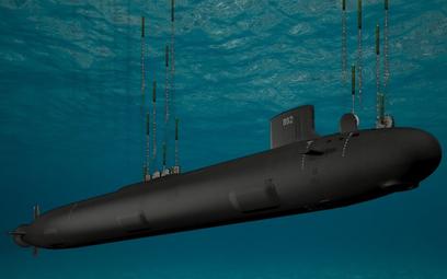 Wizja okrętu podwodnego typu Virginia Block V odpalającego w zanurzenie pociski manewrujące Tomahawk