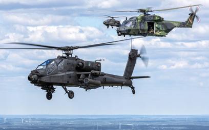 Holenderskie AH-64D eskortują smigłowiec NH90 niemieckiej Bundeswehry. Fot./Siły Powietrzne Holandii