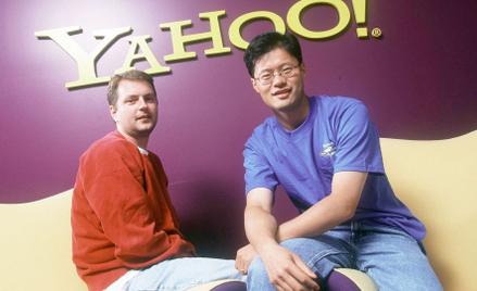 Założyciele Yahoo! David Filo (po lewej) iJerry Yang, Santa Clara wKalifornii, październik 1999 r.