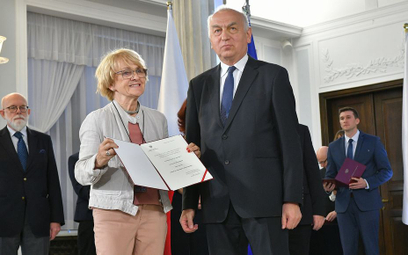 Danuta Huebner i p.o. szefa PKW Wiesław Kozielewicz