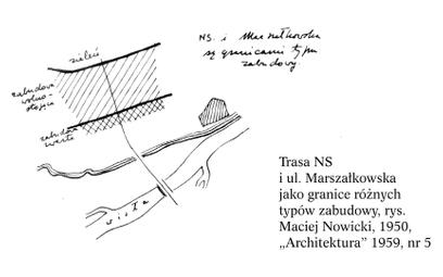 Trasa N-S (obecnie ul. Jana Pawła II) i ul. Marszałkowska jako granice różnych typów zabudowy, rys.
