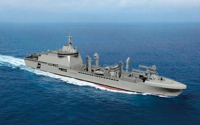 Wizja okrętu zaopatrzeniowego ITS Vulcano, na którym bazować będą okręty dla francuskiej floty. Rys.