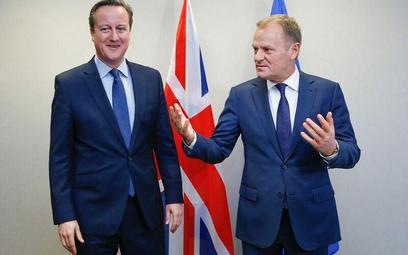 Bruksela, 18 lutego. Brytyjski premier David Cameron i przewodniczący Rady Europejskiej Donald Tusk