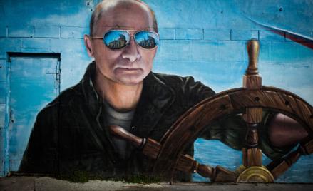 Grafiti na jednym z bloków w Jałcie przedstawiające Władimira Putina