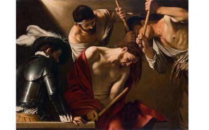 """""""Cierniem koronowanie"""", Caravaggio, własność Kunsthistorisches Museum Vienna"""