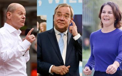 Kandydaci na kanclerza. Od lewej: Olaf Scholz (SPD), Armin Laschet (CDU/CSU), Annalena Baerbock (Zie