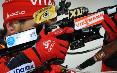 Ole Einar Bjoerndalen na trasie biegu