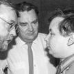 Jerzy Stępień (z lewej), Jan Olszewski (w środku) i Jarosław Kaczyński. 1991 rok, spotkanie Komitetó