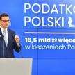 Premier Mateusz Morawiecki podczas konferencji prasowej  na temat Polskiego Ładu