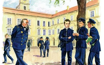 Scena na gimnazjalnym dziedzińcu: rosyjski profesor i polscy uczniowie (Józef z lewej strony grupy z