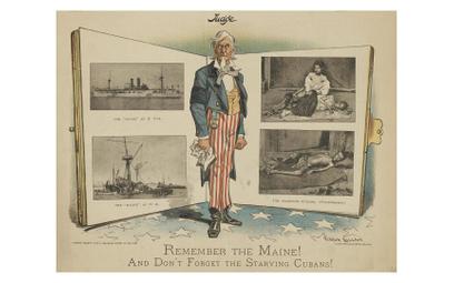 Rysunek opublikowany w 1898 r. w jednej z gazet należących do Williama Randolpha Hearsta. Hasła taki