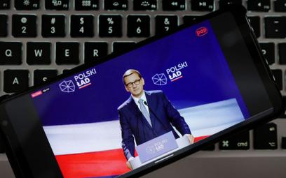 """Premier Mateusz Morawiecki podczas wystąpienia w ramach konferencji """"Polski Ład w podatkach i ubezpi"""