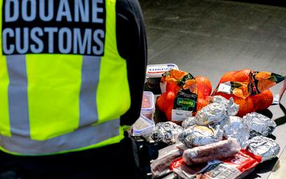 Holenderski celnik konfiskujący żywność przybywającym z Wielkiej Brytanii