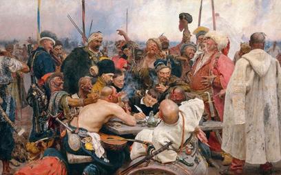"""Ilja Jefimowicz Riepin, """"Kozacy piszą list do sułtana"""". Artysta malował ten obraz wlatach 1880–1891"""