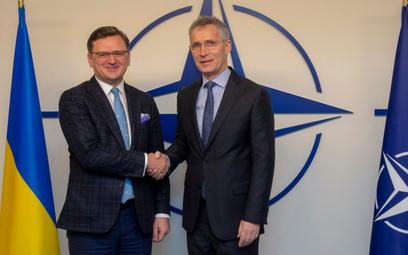 Wicepremier Ukrainy Dmytro Kułeba i sekretarz generalny NATO Jens Stoltenberg podczas spotkania Komi