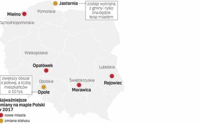 Liczba miast w Polsce po 1 stycznia wzrośnie o cztery i wyniesie 923. Liczba gmin i powiatów pozosta